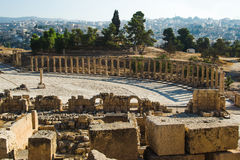 Archaeological Site, park of Jerash. Oval Plaza and ruins sanctuary of Zeus Olympios. Tourism industry, sightseeing concept. Photo of the Archaeological Site Stock Photo