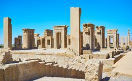 Persian history in stone, Persepolis, Iran. Archaeological site of Persepolis include preserved landmarks of ancient Persia, such as Tachara palace winter palace Stock Photography