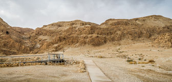 Archaeological site in Qumran National Park, Israel. Qumran Caves, archaeological site of Qumran National Park in Judaean Desert near the Dead Sea in Israel Stock Photography