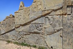 Old bas relief sculpture carving on wall, Persepolis city, Iran. Stock Photos