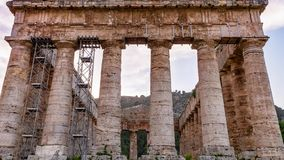 Archaeological site of ruins of ancient greek temple of Segesta, Sicily, Italy. Archaeological site of ruins of ancient greek temple of Segesta, Doric stock footage