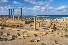 Archaeological Site of Sabratha, Libya. Roman Ruins of Sabratha on the beach in Libya, UNESCO World Heritage List Stock Photography