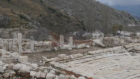 The archaeological site of Sagalassos in Turkey, downtown. The archaeological site of Sagalassos is located in southwest Turkey, in Burdur province. Agora place stock video footage