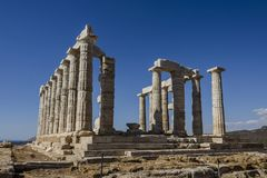 Ruins in cape Sounion stock images