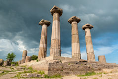 Archaeological site in Turkey. The Temple of Athena in the archaeological site of ancient Assos in Behramkale, Turkey royalty free stock photos