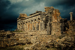 Archaeological site of Volubilis. Volubilis is a Roman ruin located in Morocco Stock Photo