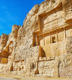 Archaeological sites of Fars Province, Iran. Naqsh-e Rustam Necropolis is popular archaeological zone in Fars Province of Iran, located next to Persepolis stock photo