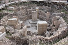 Archaeological work in Gobekli Tepe. Turkey stock images