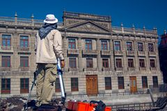 Archaeologist. At the Temple Mayor, Mexico City stock photos