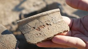 An archaeologist at an archaeological site shows fragments. Of ancient pottery in the hands of stock footage