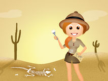 Archaeologist. Funny illustration of archaeologist girl Stock Photos