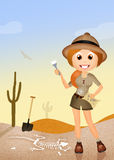 Archaeologist girl. Funny illustration of archaeologist girl Royalty Free Stock Photography