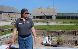 Archaeologist Lynn Evans at Fort Michilimackinac Royalty Free Stock Photo