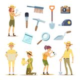 Archaeologists characters and various historical artifacts. Character archaeologist man, discovery in archaeology illustration royalty free illustration