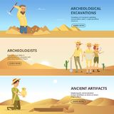 Archaeologists conduct excavations of historical values. Horizontal banners. Archaeologist and ancient artefacts. Vector illustration Royalty Free Stock Photos