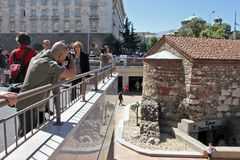 Archaeologists dig old ruins of Ancient Serdika, church St. Petka, in center of Sofia, Bulgaria – aug 29, 2012. Old Serdica. royalty free stock image