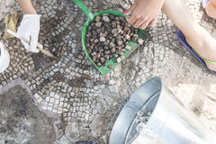 Archaeologists recover artifacts mosaic. Royalty Free Stock Images