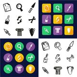 Archaeology All in One Icons Black & White Color Flat Design Freehand Set. This image is a vector illustration and can be scaled to any size without loss of royalty free illustration