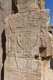 Pharaoh on Temple of Karnak, Egypt. Archaeology antiques and Egyptian statues at Karnak Temple located at Luxor city, Egypt. 20 September 2017, Luxor Egypt Stock Photos