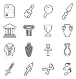 Archaeology Artifacts & Equipment Icons Thin Line Vector Illustration Set. This image is a vector illustration and can be scaled to any size without loss of vector illustration