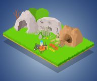 Archaeology concept banner, isometric style. Archaeology concept banner. Isometric banner of archaeology vector concept for web, giftcard and postcard vector illustration