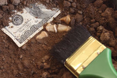 Archaeology and dollar. Stock Image