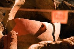 Archaeology excavation site. Real artifacts, old amphora. Old amphoras, ancient jugs, archeology findings, Archaeological excavation site. Middle East region stock images