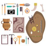 Archaeology icon set vector isolated illustration. Archaeology icon set. Vector illustration of archaeological site, ancient artifacts, archaeological tools stock illustration