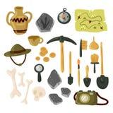 Archaeology icon set vector isolated illustration. Archaeology icon set. Vector illustration isolated on white background stock illustration