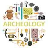 Archaeology icon set vector isolated illustration. Archaeology icon set with archeology lettering. Vector illustration of archaeological tools, ancient artifacts stock illustration