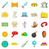 Archaeology icons set, cartoon style. Archaeology icons set. Cartoon set of 25 archaeology vector icons for web isolated on white background royalty free illustration