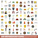 100 archaeology icons set, flat style Stock Photos