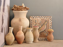 Archaeology related elements. Ancient jugs and mosaic elements Royalty Free Stock Image