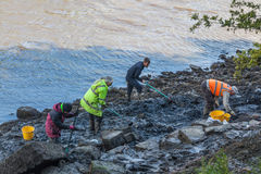 Archaeology on the River. From the recent dig at South Hylton which is looking for `Sunderland`s Forgotten Stones` or `Brigg Stones` believed to be from an Roman royalty free stock photography