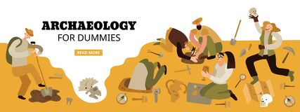 Archaeology Web Header. Archaeology for dummies web page header with funny characters on historical dig site amazing findings vector illustration royalty free illustration