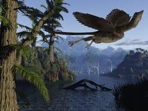 Archaeopteryx - 3D Dinosaurus Stock Foto's