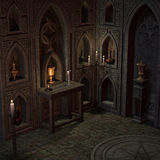 Archaic altar or sanctum in a fantasy setting Stock Photo