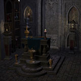 Archaic altar or sanctum in a fantasy setting Stock Photos
