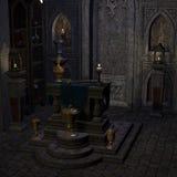 Archaic altar or sanctum in a fantasy setting Stock Photos