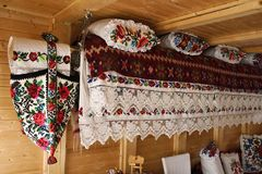 Rustic interior in an old house from Maramures, Romania. Archaic objects from rustic interior in an old house from Maramures, Romania stock photo