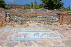 Archaic Roman era mosaic found at ancient Dion of Greece Stock Images