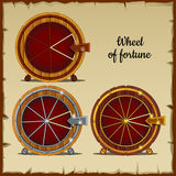 Archaic wheel of fortune with sector, beige background Royalty Free Stock Photos