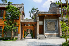 Archaised buildings in Chinese ancients style along slope Royalty Free Stock Photo