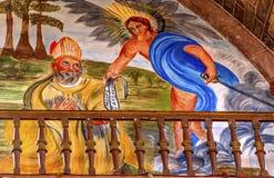 Archangel迈克尔Painting Parroquia主教教会圣米格尔火山墨西哥 免版税库存图片