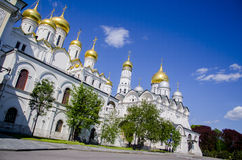 Archangel and Annunciation Cathedrals, Grand Kremlin Palace, Cathedral Square of the Moscow Kremlin, Russia. Stock Image