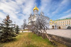 Archangel Cathedral with golden domes in the Moscow Kremlin stock photo