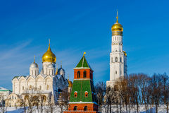 Archangel cathedral and Ivan the Great belfry of Moscow Kremlin Stock Photo