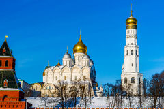 Archangel cathedral and Ivan the Great belfry of Moscow Kremlin Stock Image