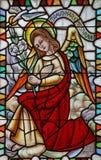 Archangel Gabriel. Stained glass church window Royalty Free Stock Photos