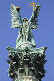 Archangel Gabriel Statue on Heroes Square Column in Budapest Royalty Free Stock Photo